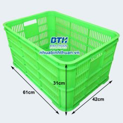 Thùng nhựa công nghiệp 6 sóng hở đáy đặc- Nhựa Bình Thuận tại Hà Nội
