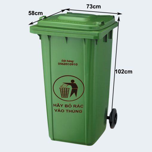 Thùng rác công nghiệp 240 lít - Nhựa Bình Thuận tại Hà Nội
